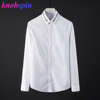 Brand Dress Shirt men 2019 New long sleeve Slim Casual shirts Solid color 80% Cotton Business male Camisas Plus size Chemise