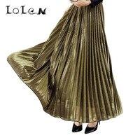Długi Akapit Spódnice Wysokiej Talii Moda Złoty Plisowana Spódnica dla Kobiet