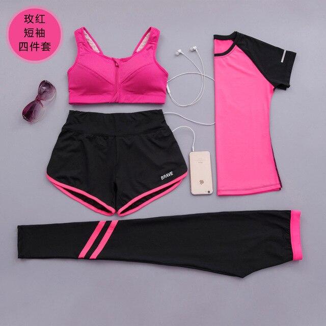 2017 vrouwen rok en blouse kledingstuk 4 pak korte mouwen t-shirts fitness sneldrogende valse twee shorts vrouwen set trainingspak