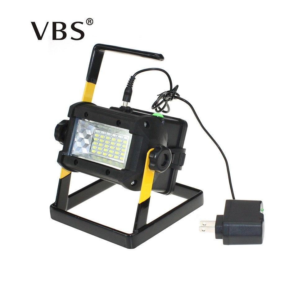 Led Projecteur 50 w 36 Led portable lumière Crue Projecteur 2400lm Étanche Extérieure rechargeable lumière puissance par 4x18650 batterie