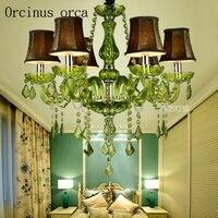 Estilo europeu cor verde vela K9 lustre de cristal quarto sala de jantar Lustre Do Hotel Porte livre|Lustres|Luzes e Iluminação -