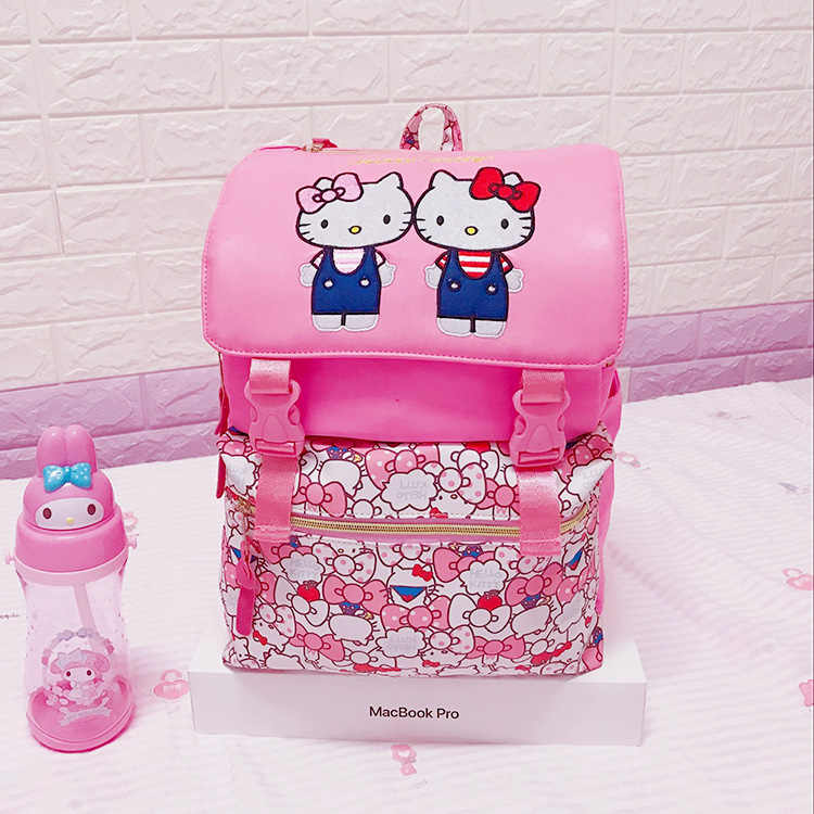 2018 Real Mochilas Backpack For Hello Kitty Big Oxford Students School Bags  Kids Backpack Bag Travelling c91229f3ce