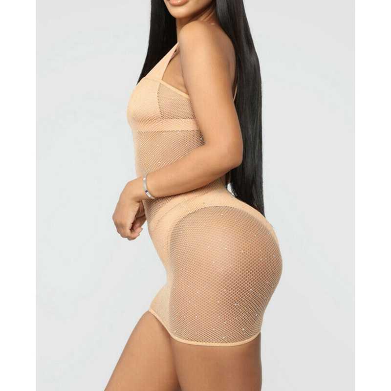 Seksi kadın Glitter Sequins parlak örgü şeffaf See-through elbise Bikini Cover Up plaj Mini elbise
