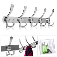 Stainless Steel Wall Mounted Hook Coat Hanger Hat Cloth Towel Rack With 10 Hooks Kitchen Storage