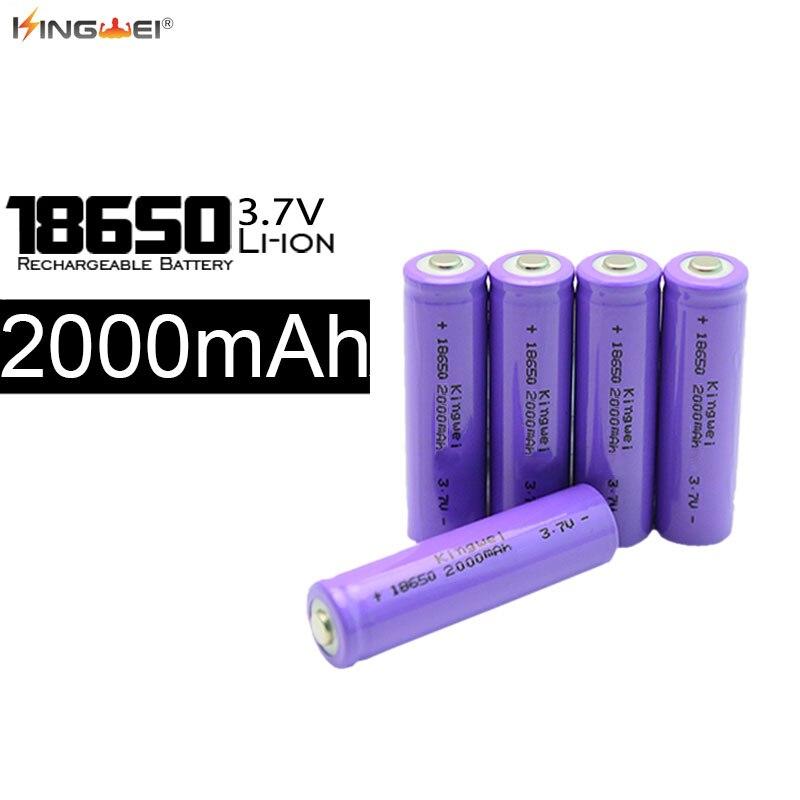 100pcs lot Kingwei New 18650 Battery 3 7v 2000mah Rechargeable For Laser Pen font b Powerbank