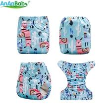 Ananbaby новая машина печатает экологически чистые Карманные детские тканевые подгузники с 1 шт. микрофибры вставки