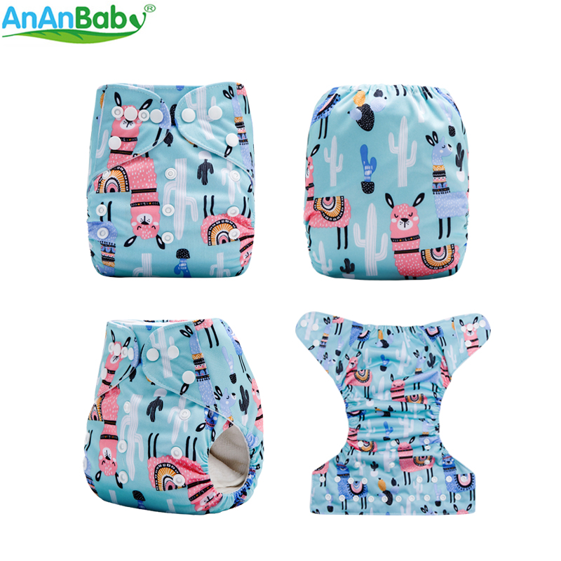 Ananbaby New Machine Prints Environmental Friendly Pocket  Baby Cloth Diaper With 1pc Microfiber Insert