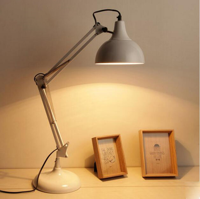 Northern Europe Modern Study Desk Lamp For Bedroom White Yellow Color Long Arm Folding Light