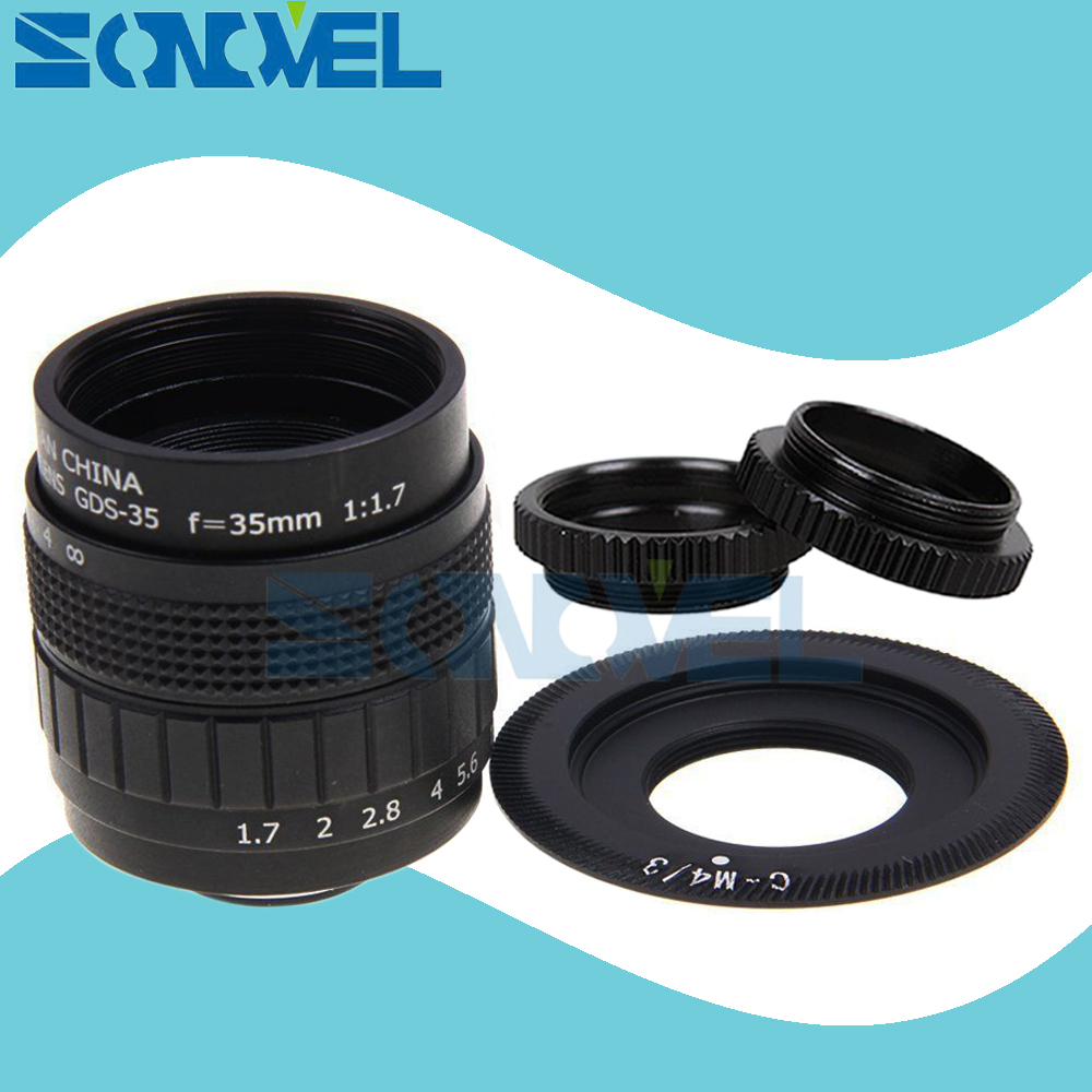 Fujian 35mm F1.7 CCTV TV movie lente + C montaje + anillo macro para Olympus micro 4/3 M4/ 3 EP3 EP5 EPL1 EPL2 EPL3 EPL5 EPM1 OM-D EM5 EM10