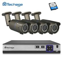 Techage H.265 4CH 4.0MP Ev Güvenlik POE NVR Kiti 2.8-12mm Varifocal lens IP Kamera P2P Onvif Açık CCTV Sistemi Hareket tespit