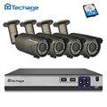 Techage H.265 4CH 4MP NVR seguridad POE CCTV sistema 2,8mm-12mm, lente de distancia focal variable de cámara IP P2P Onvif impermeable al aire libre Kit de bricolaje