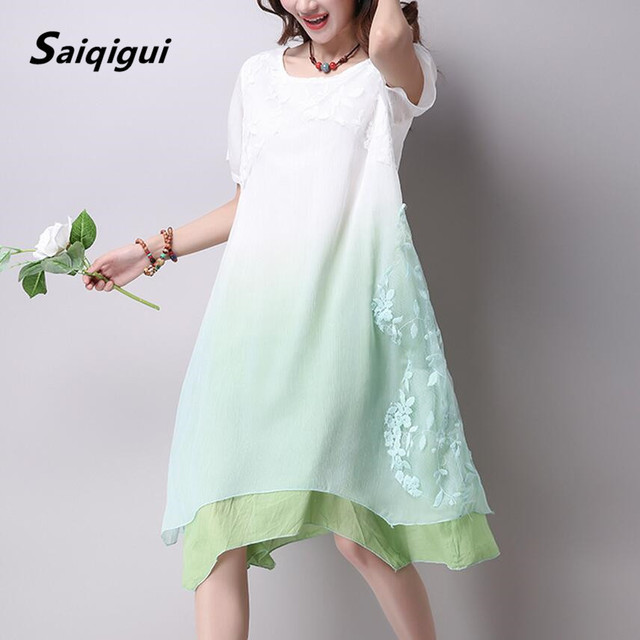 Saiqigui Summer dress New lace short sleeve gradation women dress casual cotton Linen dress Printing o-neck vestidos de festa