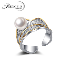 Genuine 925 sterling silver open ring women,nice natural freshwater round pearl girl gift