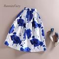BunniesFairy 50s Vintage Skirts Womens Romantic Fantasy Blue Rose Flower Print High Waist Midi Skirt Pleated Tutu Saia Feminina