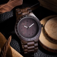 Wood Watch,UWOOD Natural Handmade Big Size Roman Number Black Sandalwood Watch Wooden Wrist Watches Men