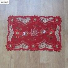 Vezon Für Chirstmas Elegante Stickerei Tischset Tischdecke Gestickten kreuzstich Leinen Weihnachten Tischset Deckchen Abdeckungen