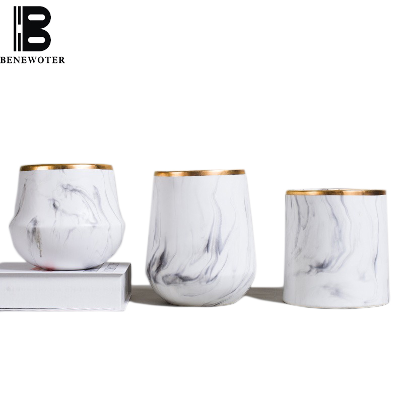 Brief Fashion Ceramic Vase Marble Texture Porcelain Ornaments Hydroponics Plant Flower Pot Home Creative Vase Decorations Gifts