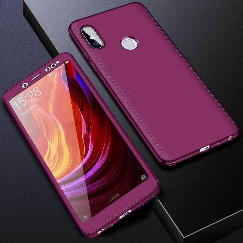 360 полный защитный чехол для телефона для Redmi Note7 note8 8A 7A для Xiaomi A3 Lite A2lite противоударный полный чехол s со стеклянной пленкой - Цвет: Фиолетовый