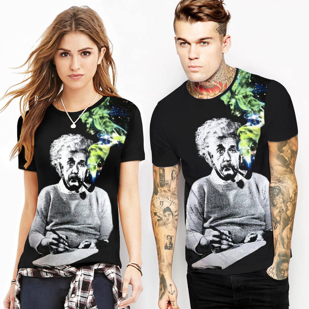 Эйнштейн футболка Летняя мода Для мужчин/Для женщин летние футболки 3D печати для Эйнштейн Футболки