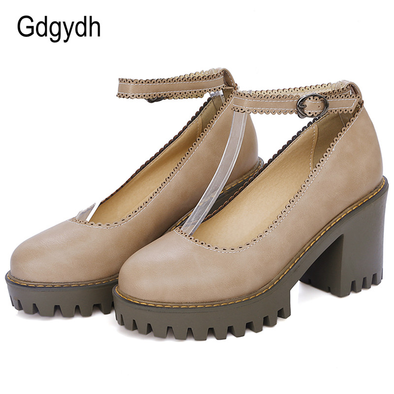 Gdgydh New 2017 Spring British Style Women Pumps Round Toe Shallow Mouth Platform Female Single Shoes Square Heels Ladies Shoes black 2016 wine red navy blue cashmere genuine leather round toe shallow mouth ultra high heels female boots female