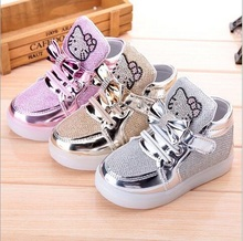 Children's Shoes 2016 New Spring Cartoon Rhinestone Led Shoes Girls Princess Fashion Sports Shoes With Light EU 21-30 For Kids
