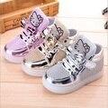 Sapatos 2016 Nova Primavera das crianças Dos Desenhos Animados Rhinestone Led Sapatos Meninas Princesa Moda Calçados Esportivos Com a Luz EU 21-30 Para As Crianças