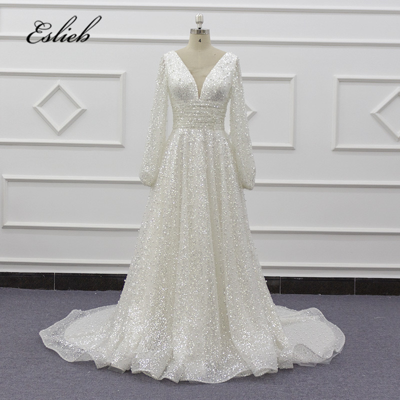 Dressystar Stunning white ball gown sweetheart rhinestone beaded sequins puffy tulle wedding dress with cathedral royal train