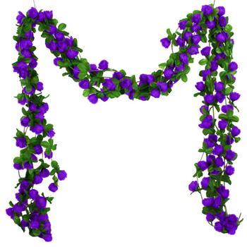 Planta de flores artificiales, rosas, flores falsas, flores colgantes, vid, jardín, fiesta, boda, decoración del hogar