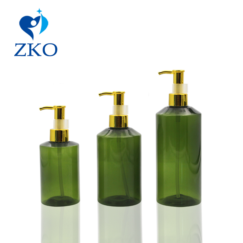 1pcs 100/150/200ml Dark Green Shoulder Bottle Plastic Aluminum Oil Pump Head Cosmetics Bottle Travel Bottle Pump Bottle