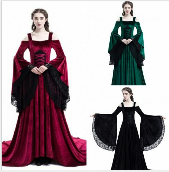 plus size Women Retro Vintage dress Renaissance Gothic Costume Medieval Gowns Long Dress
