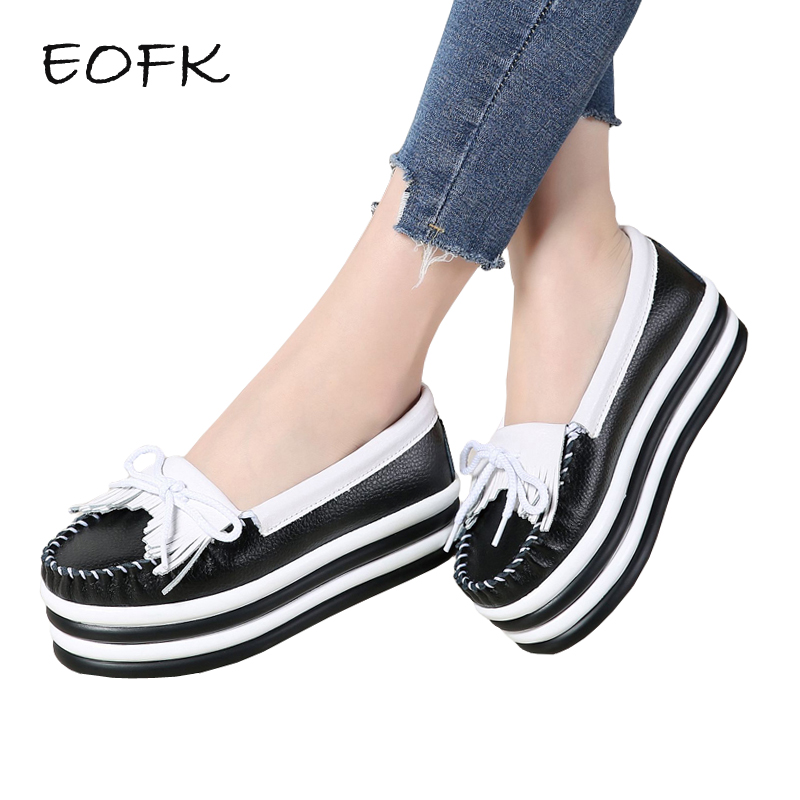 EOFK Spring Autumn Women Platform Shoes Woman Elegant Fringe Genuine Leather Slip On Flats Loafers Creepers Platform Shoes fujin 3cm black grey women spring boots winter fashion women flats bow woman platform shoes slip on espadrilles shoes creepers