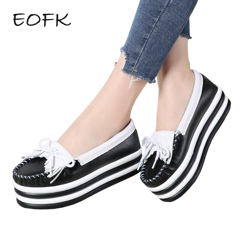 где купить EOFK Spring Autumn Women Platform Shoes Woman Elegant Fringe Genuine Leather Slip On Flats Loafers Creepers Platform Shoes по лучшей цене