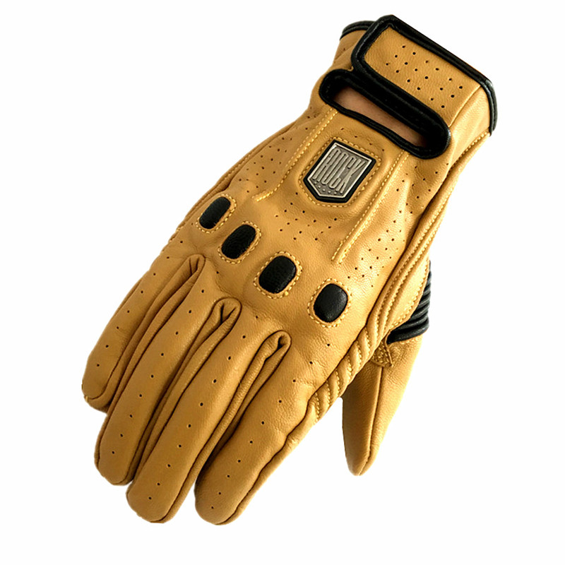 Motorcycle Gloves Leather Retro Full Finger women&men Luvas Guantes moto Motorbike Protective Gears for Harley Racing Glove 2017