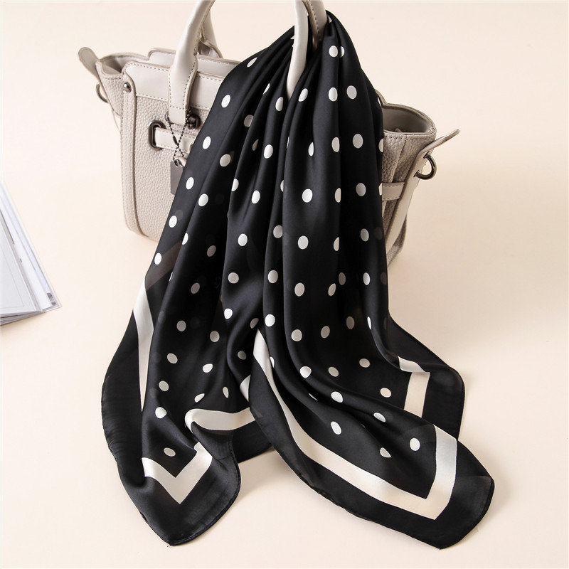 2020 Luxury Brand Square Silk Scarf Women Loop Polka Dot Shawls And Wraps Fashion Bag Scarves Hair Tie Bandanas Hijab 70*70Cm