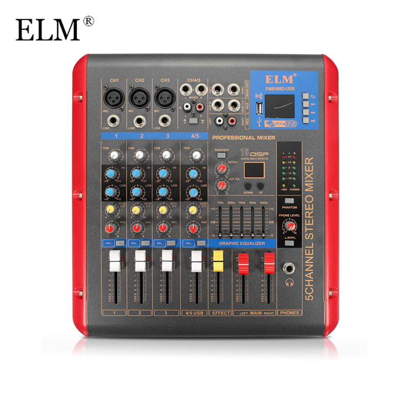 ELM Professional Bluetooth 4 Channel Karaoke Audio Mixer Amplifier Stage Microphone Sound Mixing Console With USB 48V Phantom audio mixer cms2200 3 cms compact mixing system professional live mixer with concert sound performance digital 24 48 bit effects