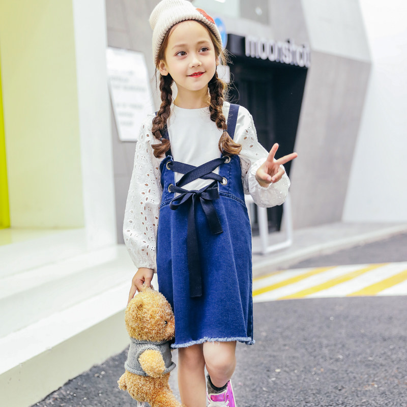 2018 Spring Denim Jeans Dress for Big Little Girls Sisters Matching Clothes  Shcool Teens Overalls Age 45678910 11 12 Years Old bd4589a52280