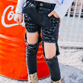 In the spring of 2017 new girls big black hole pose all-match children jeans pants baggy jeans