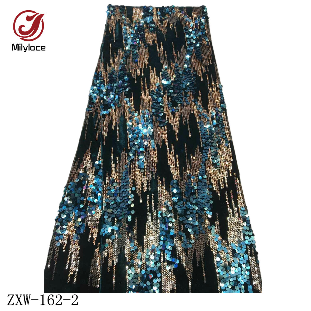 Image 4 - Milylace Nigerian sequins velvet fabric 5 yards two color 