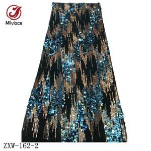 Image 4 - Milylace Nigeriano paillettes tessuto in velluto 5 metri a due colori sequenza di modo tessuto in velluto morbido tessuto per vestiti da partito ZXW 162