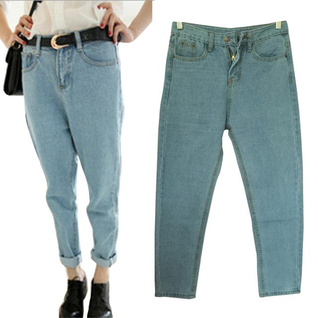Boyfriend Jeans Para Mujeres Estilo BF Más Tamaño Sueltan Los Pantalones de Mezclilla Vaqueros de Las Mujeres Pantalones Vaqueros de Las Mujeres Femme Mujer de gran tamaño