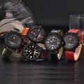 Lechosa XINEW hombres Banda de Cuero Relojes de Cuarzo Fecha Reloj de Pulsera de Los Hombres Análogos de Deporte Militar reloj de los hombres de muestras DEC15