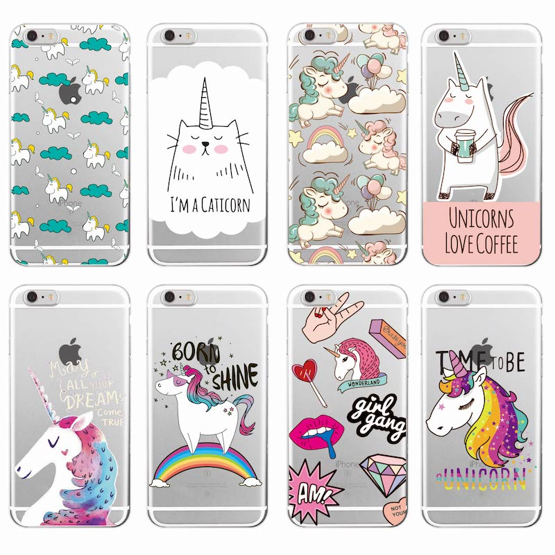 Cute Unicorn Rainbow Pizza Cafe Cartoon Quote Soft Clear Phone Case Coque Fundas for iPhone 11 7Plus 7 XS Max 6 6S 8 8PLUS X