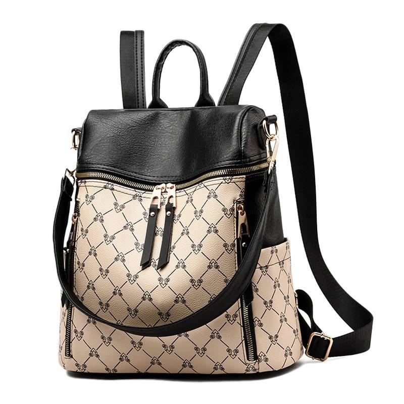 d8ab819b3841 US $22.97 40% OFF|2019 New Women Backpack PU Leather Luxury Female Shoulder  Bag Waterproof School Bags For Girls Backpacks Travel Books Rucksack-in ...