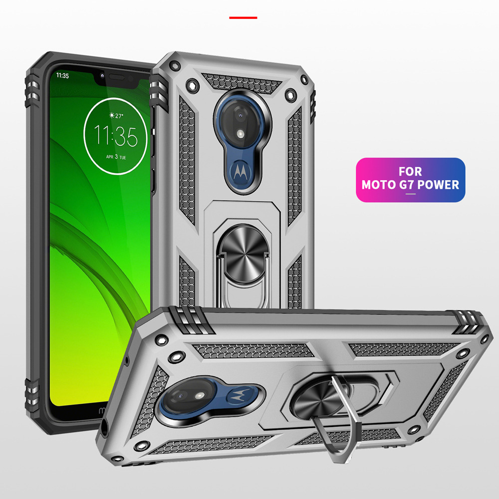 Image 2 - For Motorola Moto G7 Plus Case g7 power Hybrid Silicone PC Rugged Armor cover for moto g7 play Magnetic Ring Holder Phone coque-in Fitted Cases from Cellphones & Telecommunications