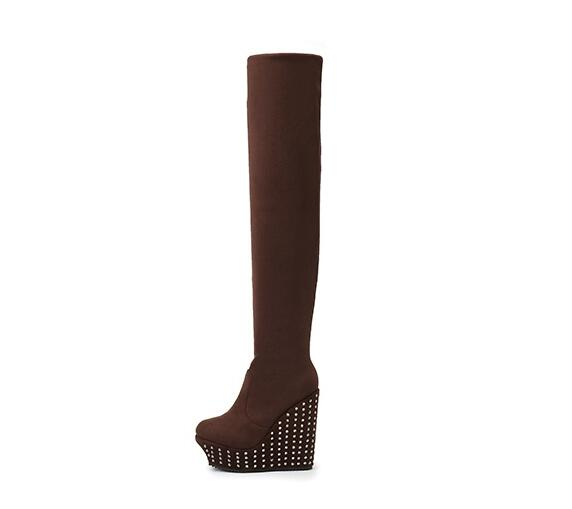 New fashion platform wedge long boots 2019 woman round toe rivets studded over the knee boots stretch fabric thigh high boots New fashion platform wedge long boots 2019 woman round toe rivets studded over the knee boots stretch fabric thigh high boots