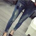 Maternidade Calça Jeans Buraco Moda Primavera Plus Size Roupas Grávidas Calças Jeans Outono Grandes Calças de Brim Calças de Algodão