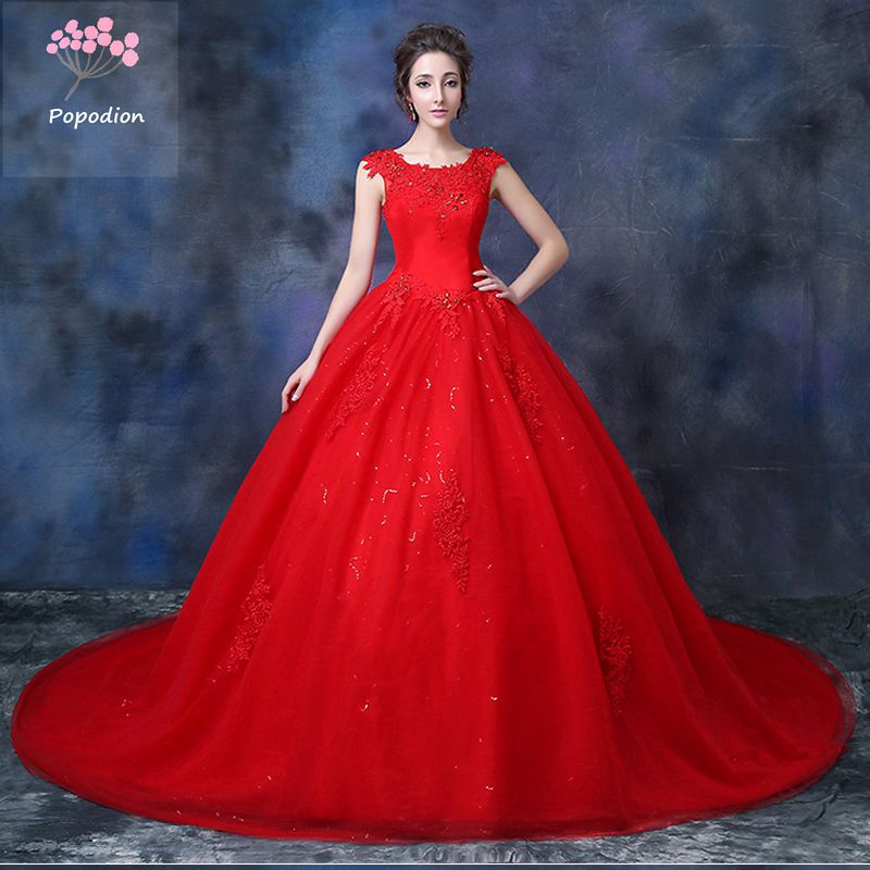 Plus size pregnant woman red lace wedding gown luxury women wedding ...