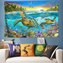 Big Turtle Tapestry Psychedelic Wall Hanging Undersea World Scenery Art Decoration Hippie Tapestries Bohemian Beach Towel