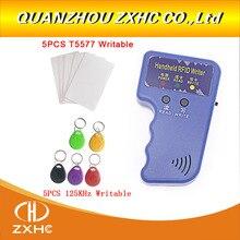Ручной 125 кГц EM4100 RFID Копир писатель Дубликатор Программист ридер и T5577 перезаписываемый ID Брелоки метки карты T5577