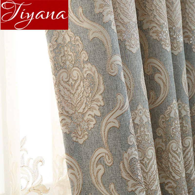 European Royal Luxury Sheer Curtain Fashion Jacquard Thick Blackout Curtain For Living Room Bedroom Window Drape Fabric T&245#30